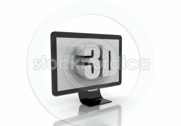 3d tv technology concept on white background
