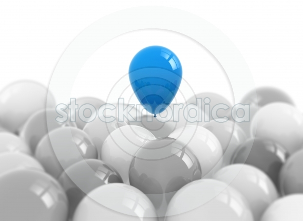 One Blue balloon rising