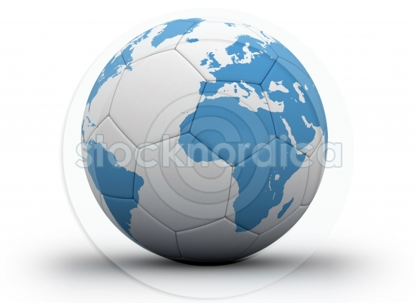 Soccer ball with world map isolated in white