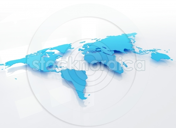 3d world map illustration side view