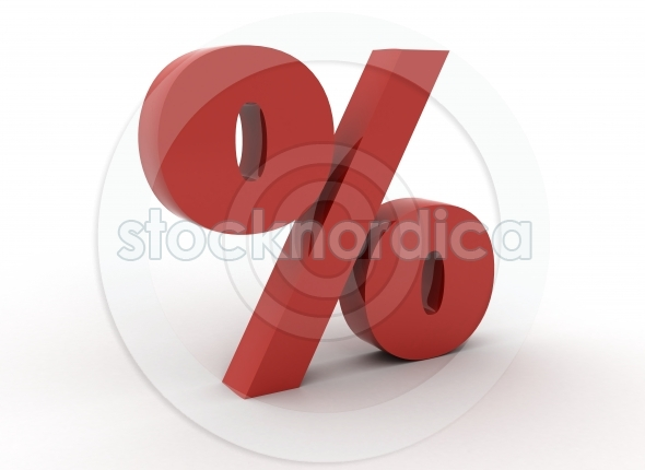 Percentage sign 3d on white background