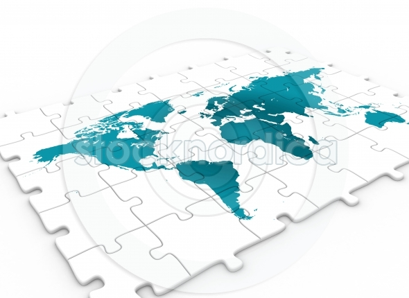 Puzzle piece and blue world map