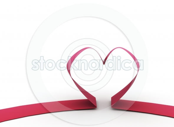Red ribbon in heart shape valentines background