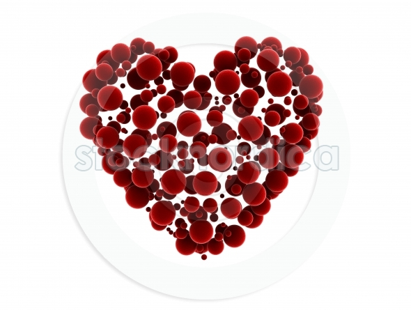 Heart shaped cluster of spheres 3d illustration