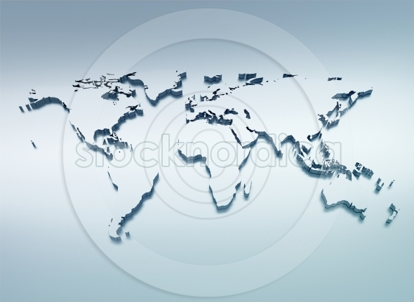 World map blue silver 3d illustration