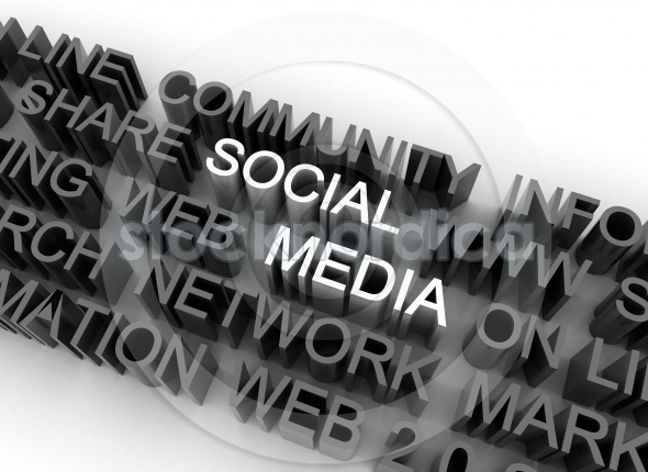 Social Media 3D Words Background