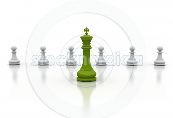 Green Chess King Business Concept