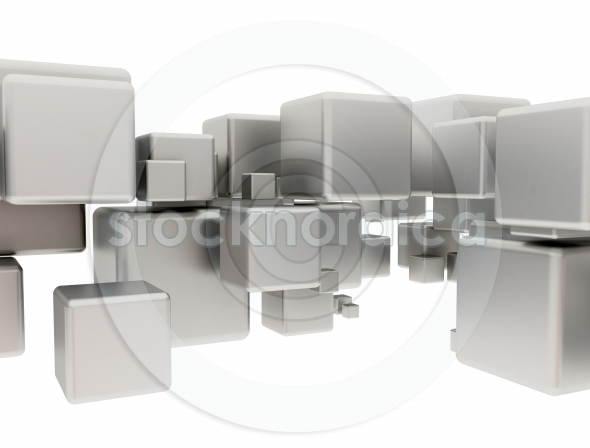 Abstract metal cubes