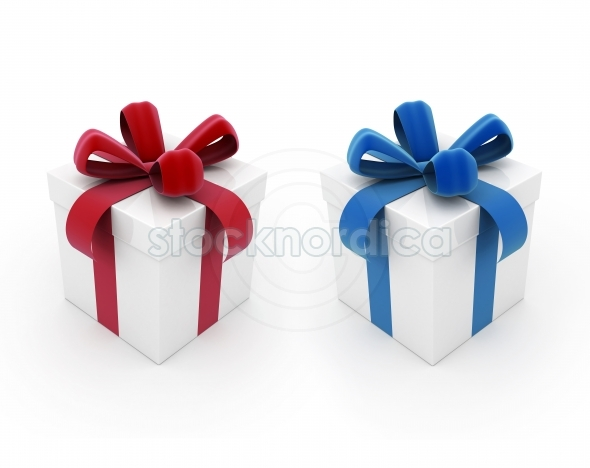 Two gift boxes red and blue on white background