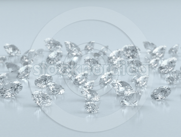 Group of diamonds on blue background