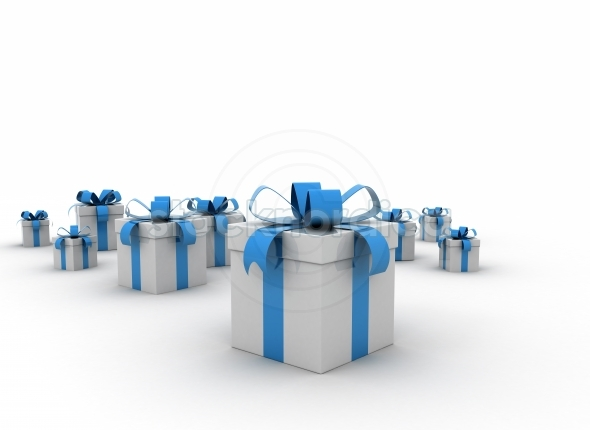 Blue gift boxes with tied bows on white background
