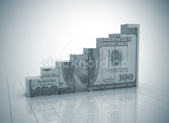 Money graph rising cash texture on white background Business graph