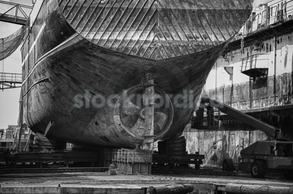 An old ship during hull repair