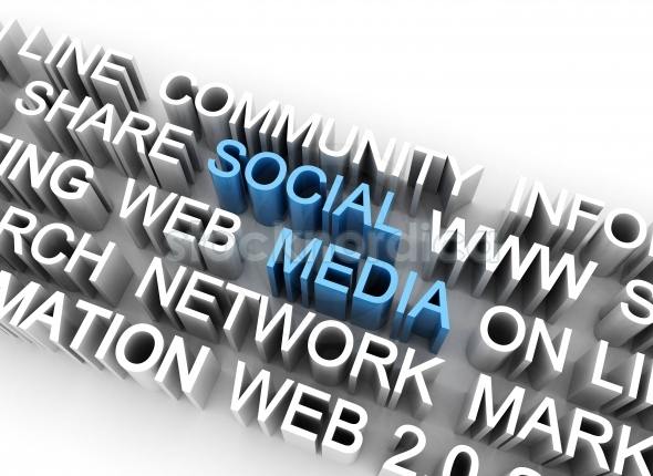 Social media text 3d illustration