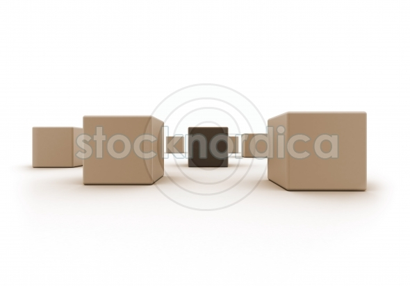 Wood boxes one standing out