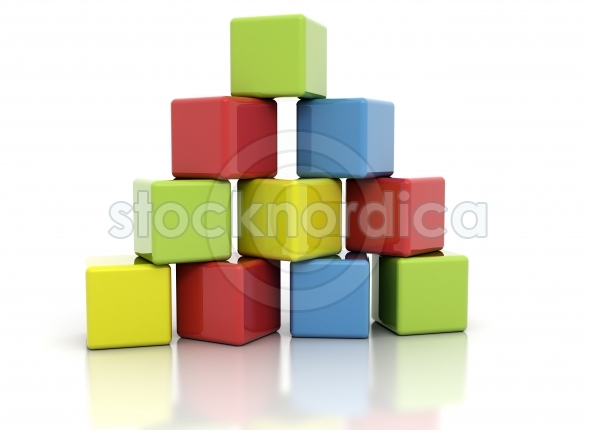 Wooden colored building blocks