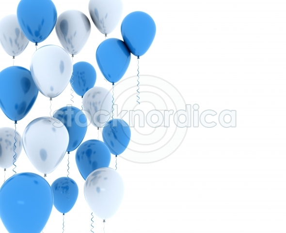 Blue and white party balloons isolated on white
