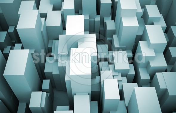 Abstract 3d city birds eye view