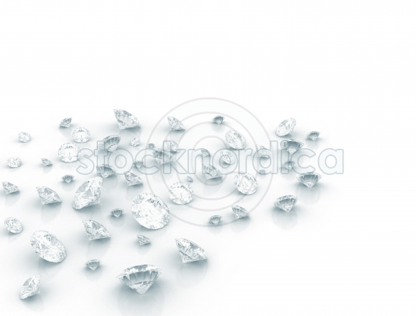 Many Diamonds on white background