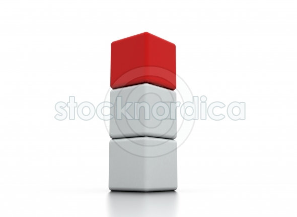 One individuality red cube in white stack tower