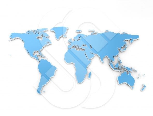 High quality 3d render of blue world map