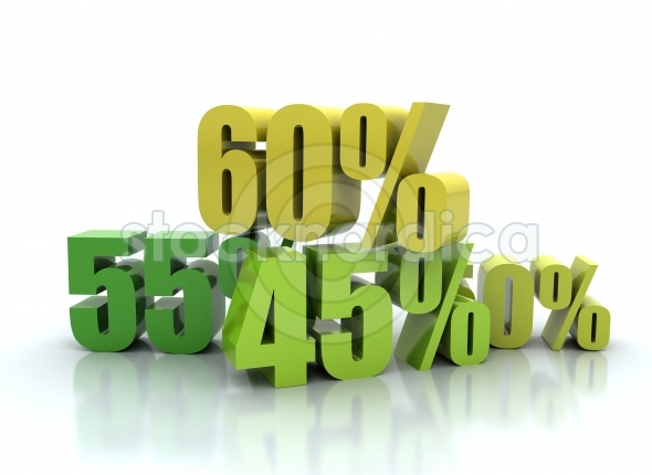 Percent sales concept isolated on white background