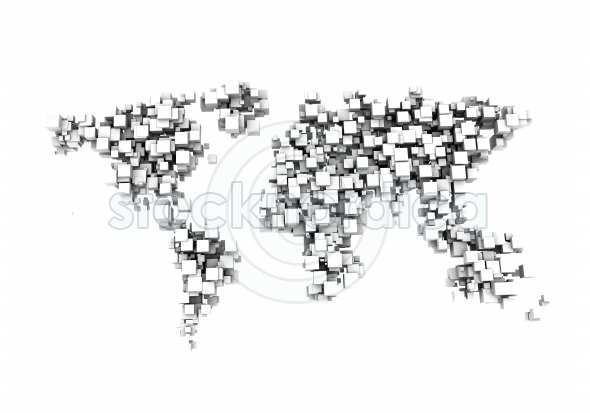 World map digital abstract 3d illustration