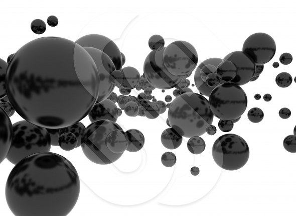 Black spheres isolated on white background