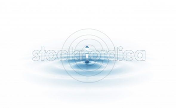 Blue water drop isolated on white