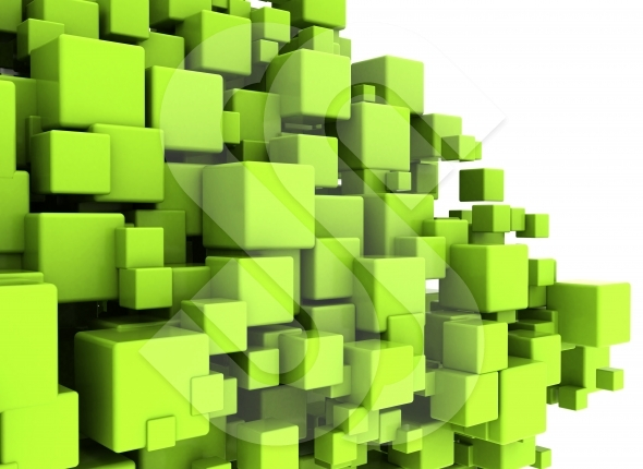Green abstract 3d cubes