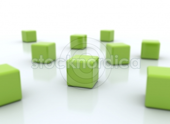 Green cubes with selective focus