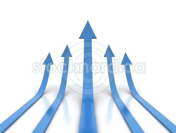 Blue arrows rising on white background