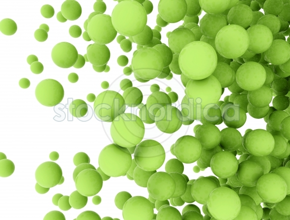 Abstract green 3d spheres
