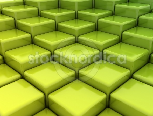 Abstract green metallic cubes
