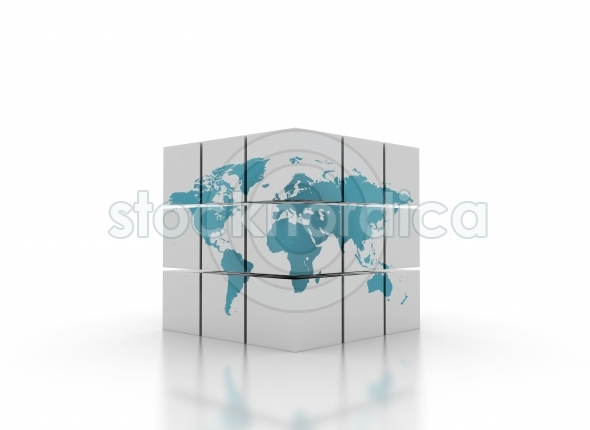 World map on 3d cubes