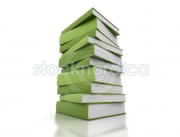 High stack of green books