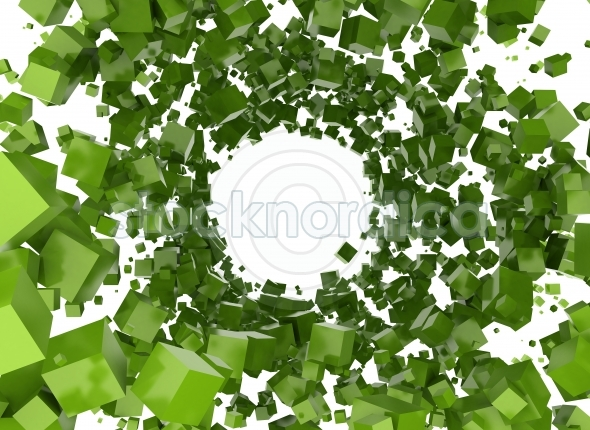 Abstract green 3d cubes background