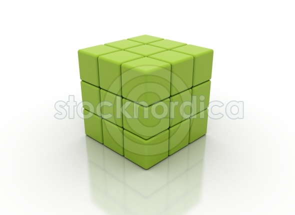 A cube built from small blocks