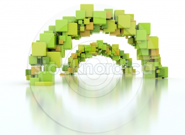 Abstract 3d illustration made of arcs of 3d cubes