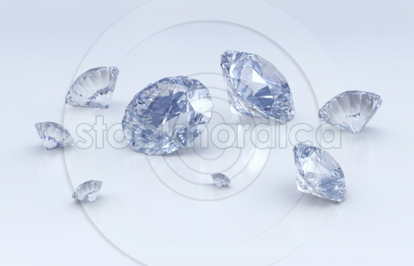 Clean blue group of diamonds
