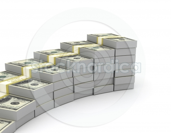 Money stack forming a graph