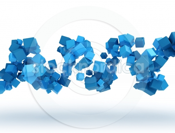 Abstract blue spiral cubes