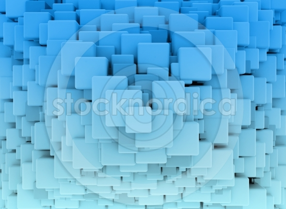 Building cubes blue abstract 3d shape