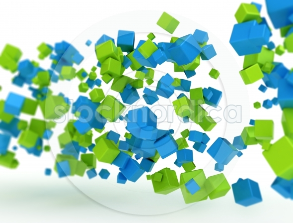 3d cubes green and blue