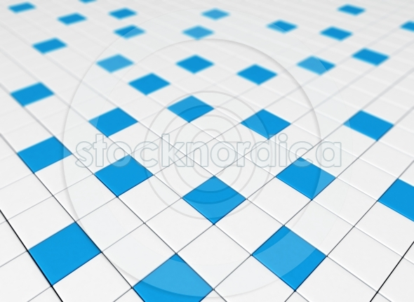 Blue and white cubes 3D