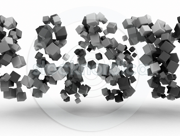 Abstract metal cubes 3d