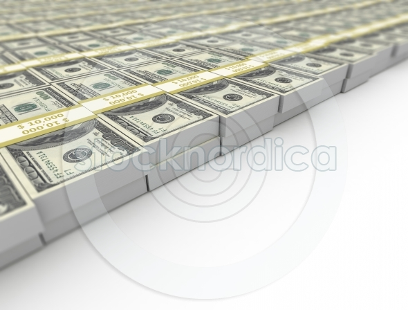 US dollars stacked close up image