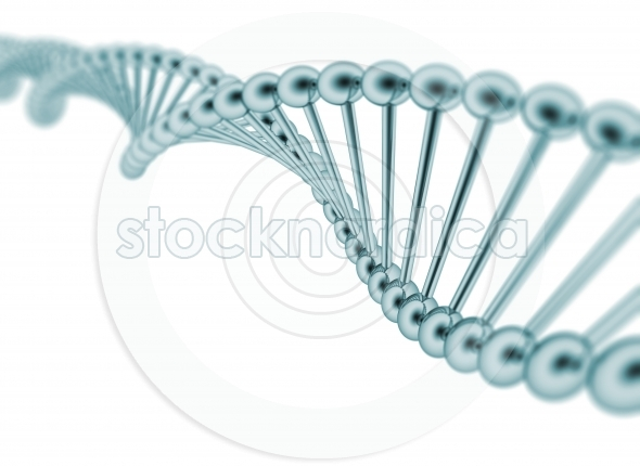 DNA strand on white background metal texture