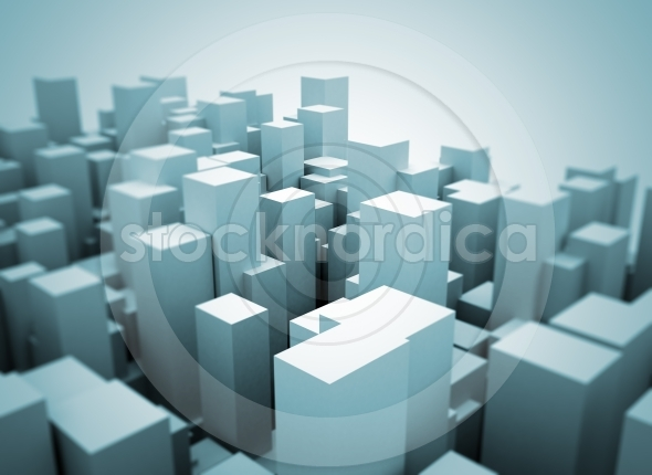 Abstract city made of 3d cubes