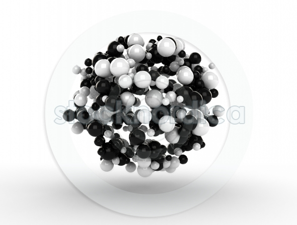 Digital white and black spheres